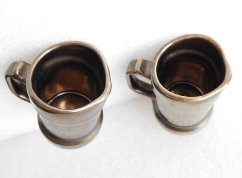 Pair of Prinknash Pottery jugs for cream milk sauce Lustre miniature tankards